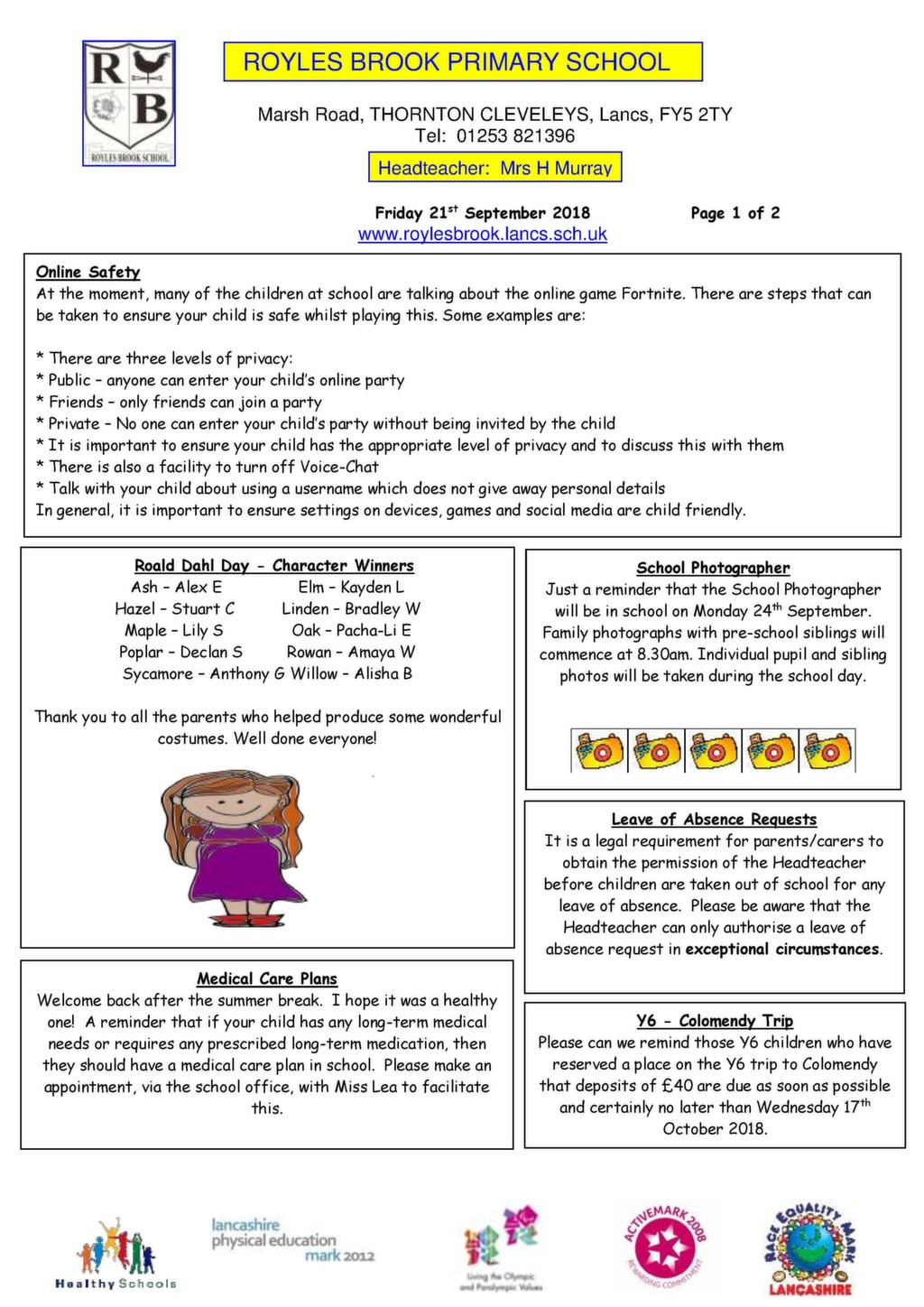 newsletter examples for schools